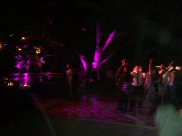 Wedding at Hakone Gardens in Saratoga. Giant Oak Tree lighting and Dance Floor wash.