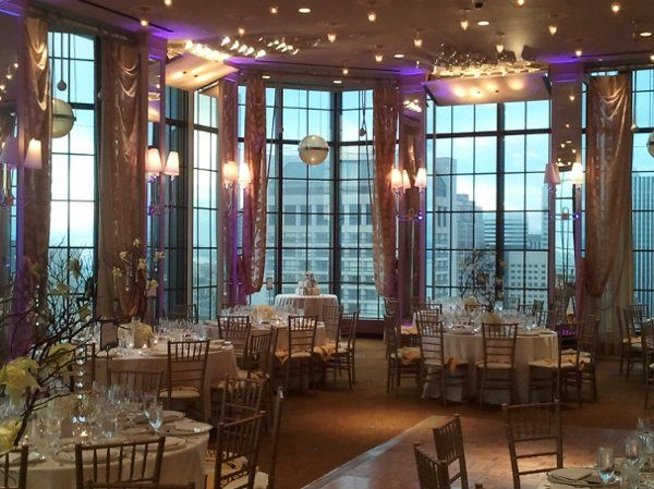Wedding at Westin St. Francis in San Francisco.  Alexandras Ballroom during the day with purple...