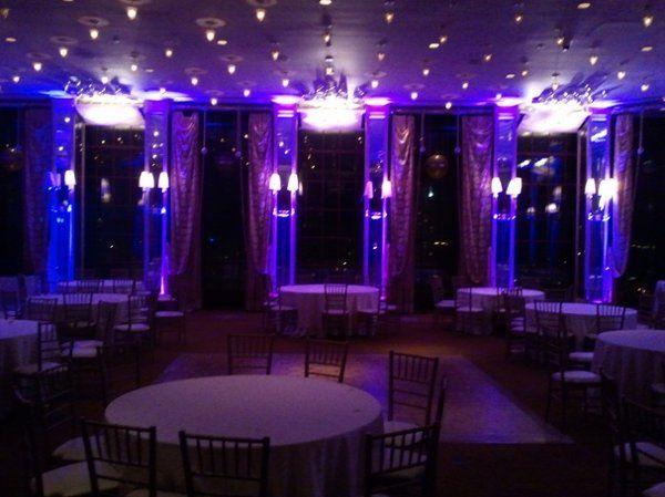 Wedding at Westin St. Francis in San Francisco.  Alexandras Ballroom with purple uplighting and wall...