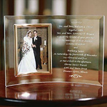 Make today's gift tomorrow's heirloom with our beveled glass picture frame that encases an 8 x 10...