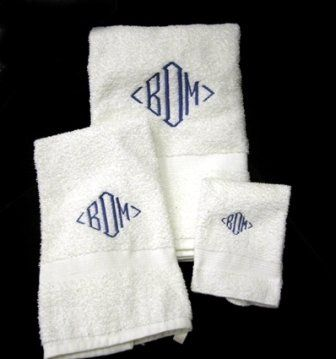 An embroidered set of towels is a great wedding  gift. Personalize a gift they would not normally...