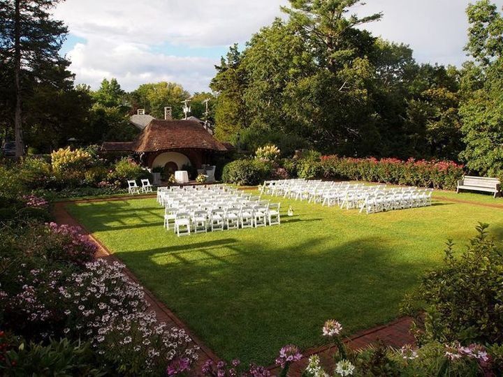 The Walled Garden in full bloom setup for a wedding ceremony
