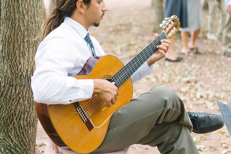 Performing at a rural wedding