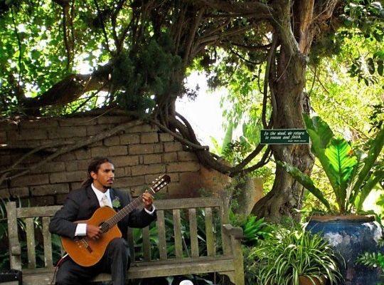 John performing in the garden