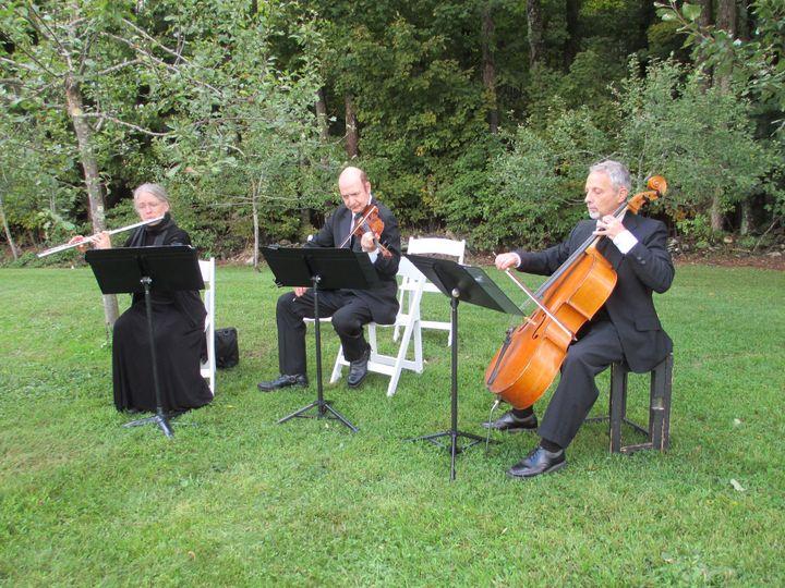 """Passeri"" Flute, violin, cello trio at Curtis Vance Memorial Orchard, Danville, VT. With Raymond..."
