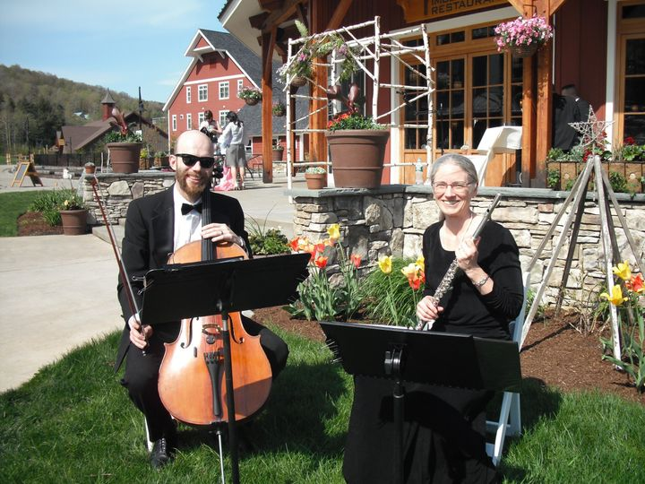 Michael Close, cello, Lisa Carlson, flute, at Sugarbush Resort in Warren, Vermont.
