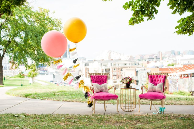 Pink chairs and balloons