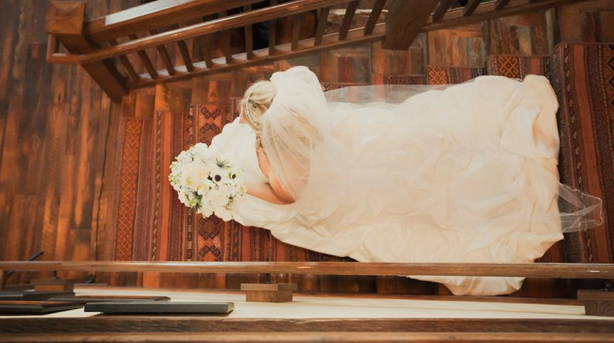 Bride going down the stairs