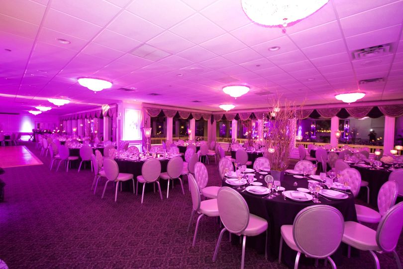 Reception area with pink uplighting