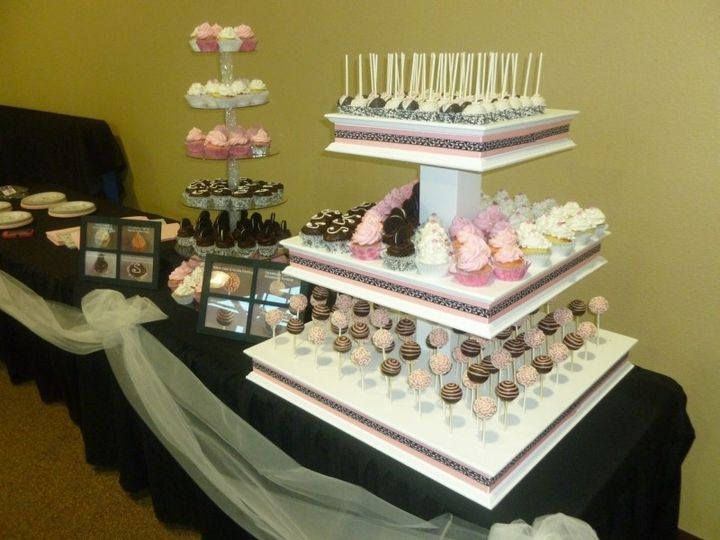 Wedding Display: Cupcake Tower, 3-tiered wedding display with matching colors.  Holds cupcakes and...