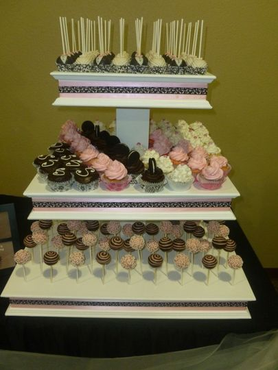 Three-tiered Wedding Display holds cupcakes and cake pops for your wedding dessert table
