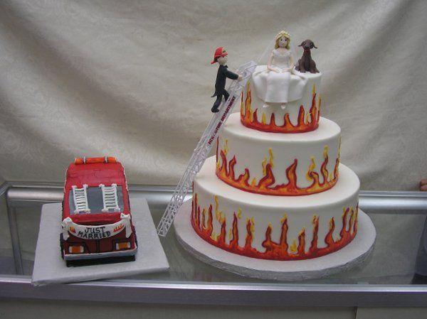 fire man/bride wedding cake