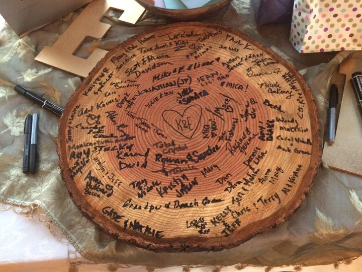 Wood slab guest book