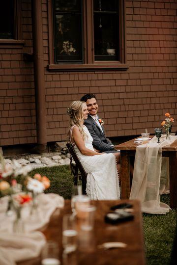 Newlyweds during speeches