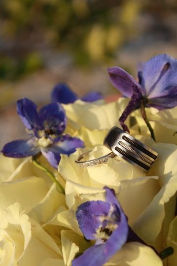 Flowers and wedding ring