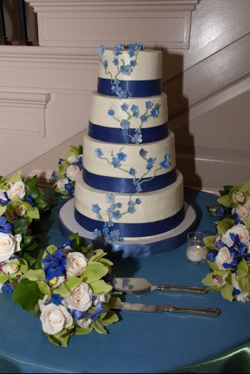 blue ribbon with flower