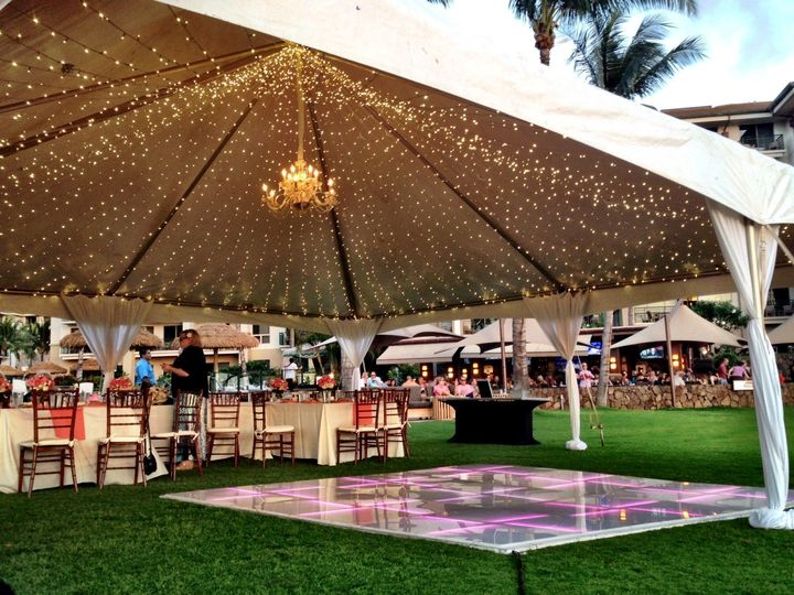 Westing KOR Ocean Lawn Wedding Reception with DJ Services and 12x12 LED Dance Floor