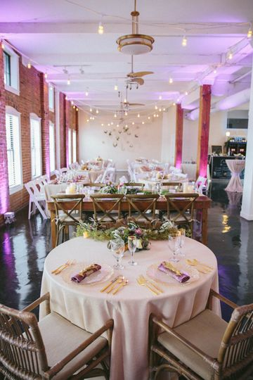 Reception with Sweetheart Table at The River Room.  Photo by Lightbloom Photography.