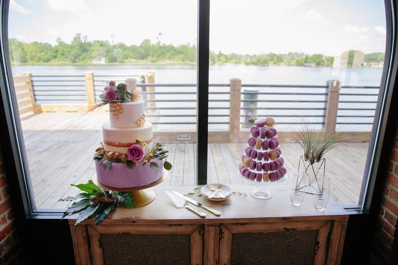 Wedding Cake & macaroons by Pink Baking Company.  Photo by Lightbloom Photography.