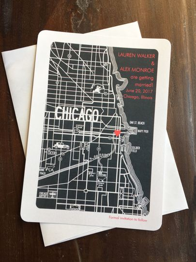 Chicago Map Save the Date