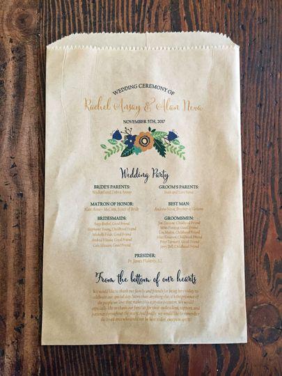 Wedding Program Favor Bag