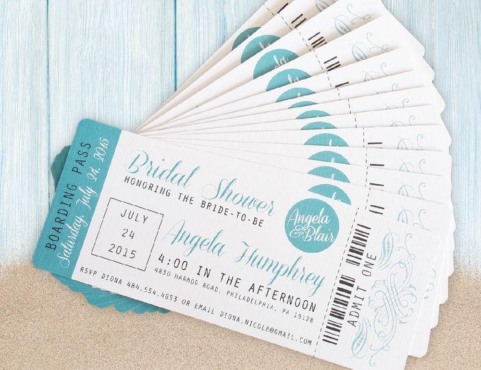 Plane ticket themed invitation
