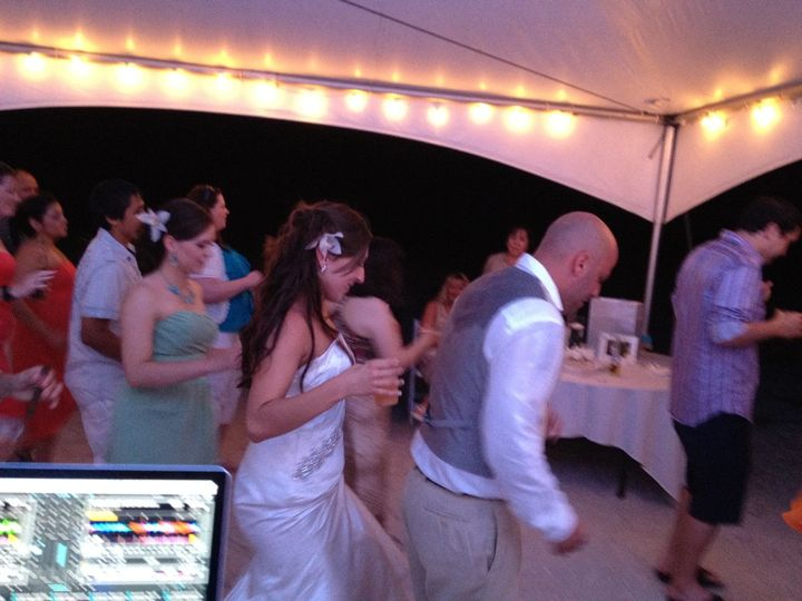 Dancing couple and guests