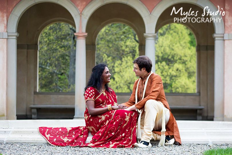Engagement photo taken at the Vanderbilt Mansion in Hyde Park NY.  This couple chose to wear indian...