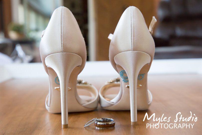 Wedding shoes & wedding rings.