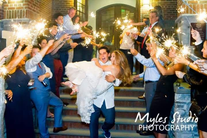 Bride & Groom with sparklers.