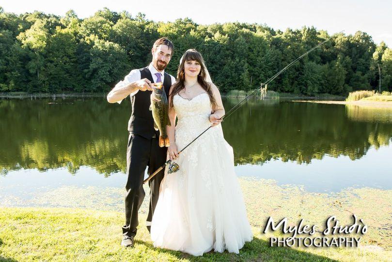 Wedding couple gone fishing.