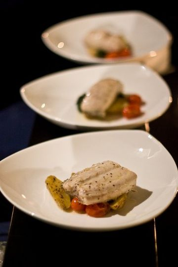 Pan Roasted Halibut with fingerling potatoes and firecracker glazed carrots