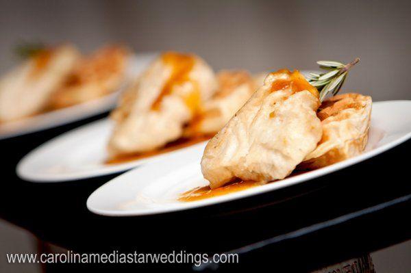 Chicken & Waffles: tempura battered brined chicken breast, vanilla scanted waffle, apricot-maple...