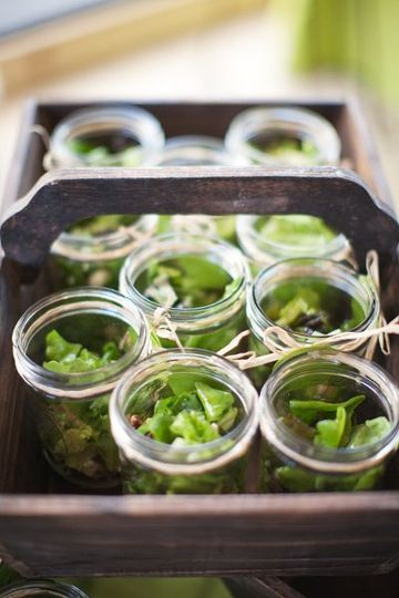 Mason Jar Southern Salad: mixed local greens, candied pecans, goat cheese and citrus-champagne...