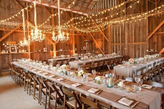 Barn Wedding with Farm Tables and Lighting