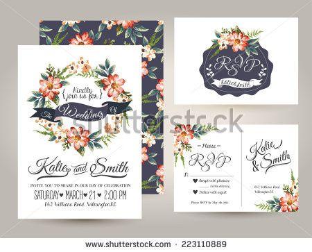 stock vector wedding invitation card suite with da
