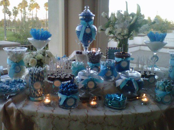 Blue and white candy buffet at Menifee Lakes, Ca