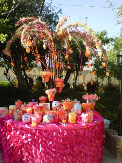 Garden tree candy buffet, orange and pink.