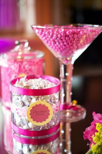 Pink and Yellow candy buffet at the Grand Tradition Estates.  Photo taken by Amy Stone Photography.
