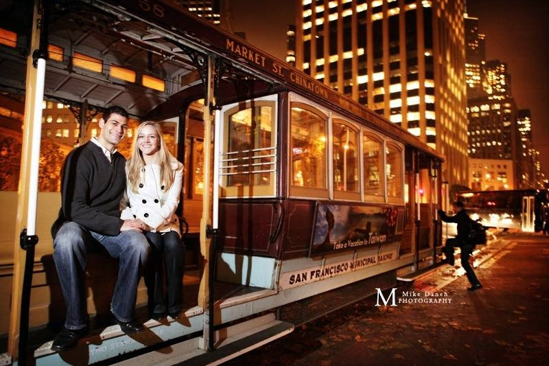 Cable car engagement session in San Francisco