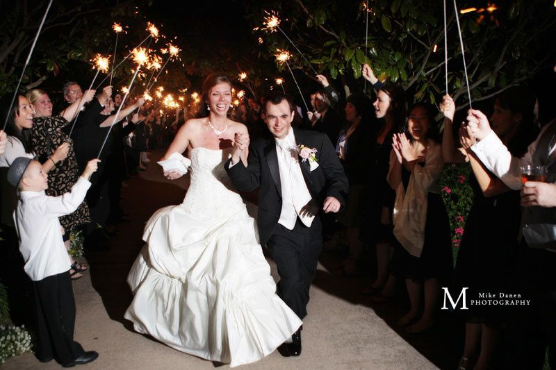Sparklers at a wedding in Monterey, California