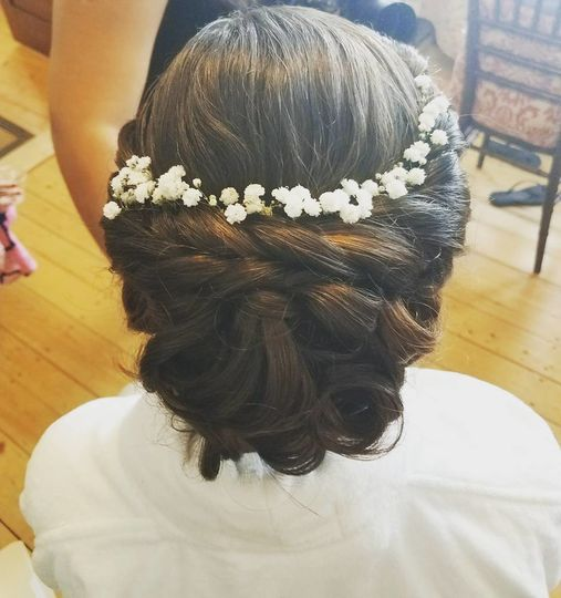 Bridal updo and flower crown