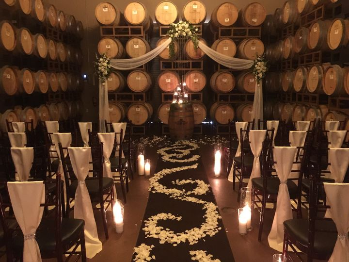 Black and white wedding setup