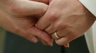 stock footage bride and fiance holding hands durin
