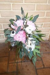 Wild feel bouquet with peonies