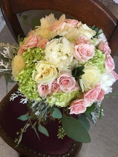 Bouquet with roses, peonies and hydrangeas