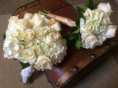 Classic all white bouquets