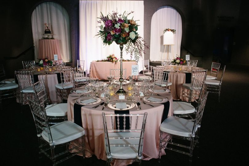 Floral centerpiece and tables