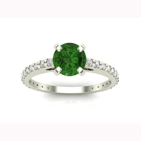 Green diamond engagement ring