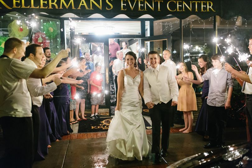 Wedding couple leaving the Kellerman's Event Center in White Bear Lake, Minnesota.
